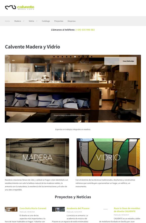 Web empresa carpintería Calvente Madera y Vidrio, Sevilla