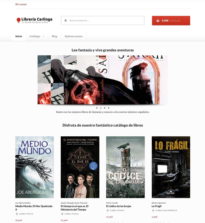 Web wordpress woocommerce Tienda Carlinga de libros de fantasía